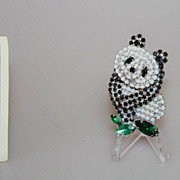 Vintage Panda Brooch Pin Black and White Rhinestones
