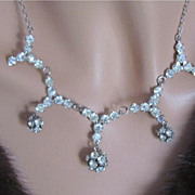Art Deco SET Clear Crystal Rhinestone Ball Pendant Necklace & Earrings