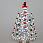 Beautiful Vintage 6&quot; Table Top Christmas Tree Czech Rhinestones Crystals