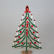 Beautiful Vintage Small Table Top Christmas Tree Czech Rhinestones Crystals