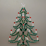 SOLD Wonderful 6&quot; Table Top Vintage Christmas Tree Czech Rhinestones Crystals