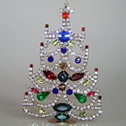 SOLD Fabulous Vintage Small Table Top Christmas Tree Czech Rhinestones Crystals