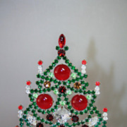 SOLD Fantastic 7&quot; Table Top Christmas Tree Huge Czech Stones Vintage Decoration