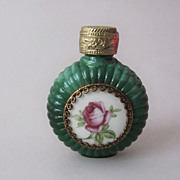 Green Malachite Glass Miniature Vintage Perfume Bottle Flacon with Porcelain Rose
