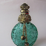 SALE Art Deco Czech Green Glass Perfume Miniature Flacon Bottle w. Dangles