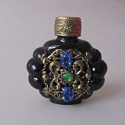 SALE Czech Black Glass Vintage Rhinestone Miniature Perfume Flacon Bottle