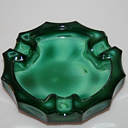 SOLD Fabulous Vintage Green Malachite Glass Ashtray
