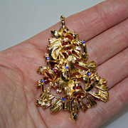 Unusual Vintage Christmas Bell Rhinestone Brooch Pin