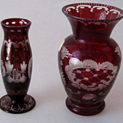 REDUCED 2x Egermann Art Deco Czech Small Vases Ruby Red Cut to Clear Glass