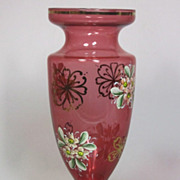 Beautiful Czech Bohemian Vintage 1920s Vase Pink Glas Gold Hand Applied Flowers