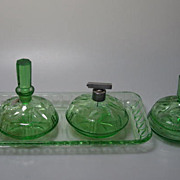 SALE Art Deco 1920s German Marked Perfume Bottles Set Hand Cut  Crystal Glass
