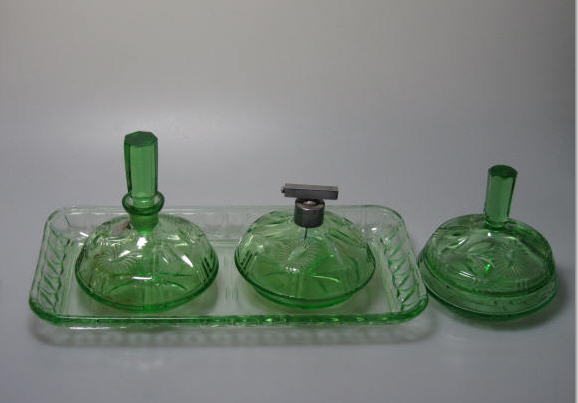 Art Deco 1920s German Marked Perfume Bottles Set Hand Cut  Crystal Glass