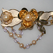 Unique Filigree Pearl Rhinestone Hair Barrette Czechoslovakia 1950's