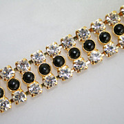 Stylish Vintage 1940-50s Brilliant Rhinestone Bracelet Czechoslovakia