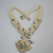 Unique Czech Vintage 50's Faux  Pearl Wide Necklace Handwork