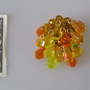 Funky German Vintage 60s  Brooch Pin Yellow & Orange Lucite Beads marked