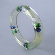 SALE Vintage Confetti Floral Lucite Early Plastic Bracelet Bangle