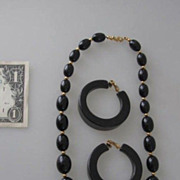 REDUCED Vintage Set of Black Bakelite Earrings & Monet  Necklace