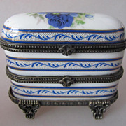 Charming Limoges Vintage Porcelain Trinket Box 3-in-1