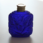 Art Deco Violet Glass Miniature Vintage Perfume Bottle Flacon Czechoslovakia