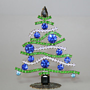 SOLD Vintage Rhinestones 4&quot; Table Top Christmas Tree Czechoslovakia