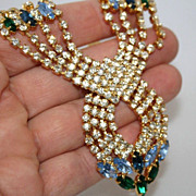 Gorgeous Vintage Rhinestone Necklace & Ring Czechoslovakia 1950s