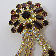 Red & Aurora Borealis Czech Crystal Pin Brooch Pin with Dangles 1950s