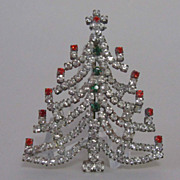 REDUCED Vintage Pin Handcrafted Rhinestone Christmas Tree