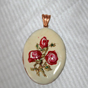 German Handpainted Vintage Double Sided Necklace Pendant Violets & Roses