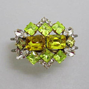 SOLD Gorgeous Vintage Rhinestone Clamper Bracelet Uranium Glass Stones
