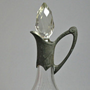 Antique 1900 Czech Crystal Glass Decanter Pewter Mounted