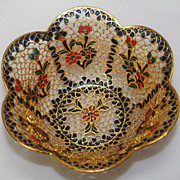 SALE Russian Vintage Enamel Filigree Copper Bowl