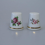 2 Floral Porcelain Sewing Collector Thimbles