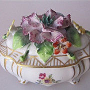 REDUCED Antique German Thuringia Sitzendorf Porcelain Handmade Trinket Box Rare