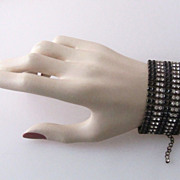 Art Deco Czech Rhinestone Wide Bracelet