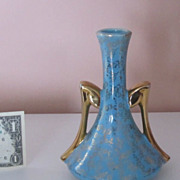 SALE Vintage USA Porcelain Vase 22K Gold Hand Painted