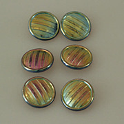 6 Czech Vintage AB Decorative Glass Buttons