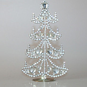 REDUCED Beautiful Vintage 6&quot; Table Top Christmas Tree Czech Rhinestones Crystals