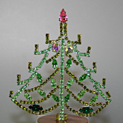 SOLD Beautiful Vintage 4&quot; Czech Rhinestones Table Top Christmas Tree
