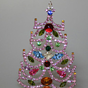 SOLD Beautiful Vintage 4&quot; Czech Pink Rhinestones Table Top Christmas Tree
