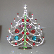 SOLD Beautiful Vintage 4.5&quot; Czech Rhinestone Table Top Christmas Tree