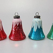 REDUCED 4 Vintage Glass Christmas Ornaments Germany Marked