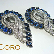 SOLD Coro Sapphire Blue Huge Dress Clips