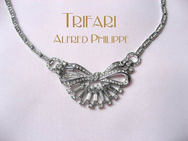 Crown Trifari Clear Rhinestone Choker Necklace - Alfred Philippe 1948 Patent - Wedding