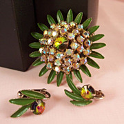 Vintage Rhinestone Brooch and Earring Set - Aurora Borealis -Green Enamel