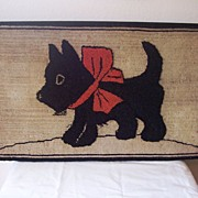 Hooked Wool Rug, Scottie Puppy, circa 1920