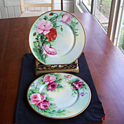 Hand Painted, Rose Decorated Plates, Pair