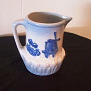 Antique Salt-Glaze Blue and White Pitcher, Windmill Scene