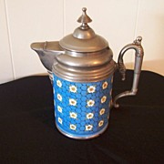 Antique Enamel-Ware Coffee Pot with Pewter