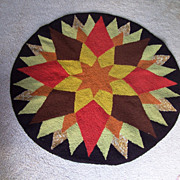 Folk Art, Hooked Wool Rug, Round, Early 1900's